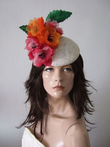 "Fuschia + Orange Peonies White Headpiece Floral Hat ""Nicola"" - Royal Ascot Races"